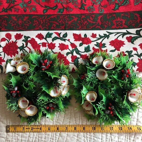 Christmas Candle Rings.Pair Vintage Holly Candle Rings Wreaths Bells